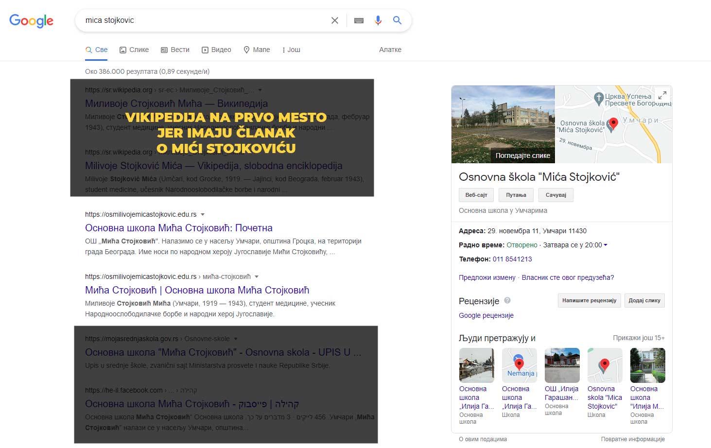 optimizovan sajt za pretragu