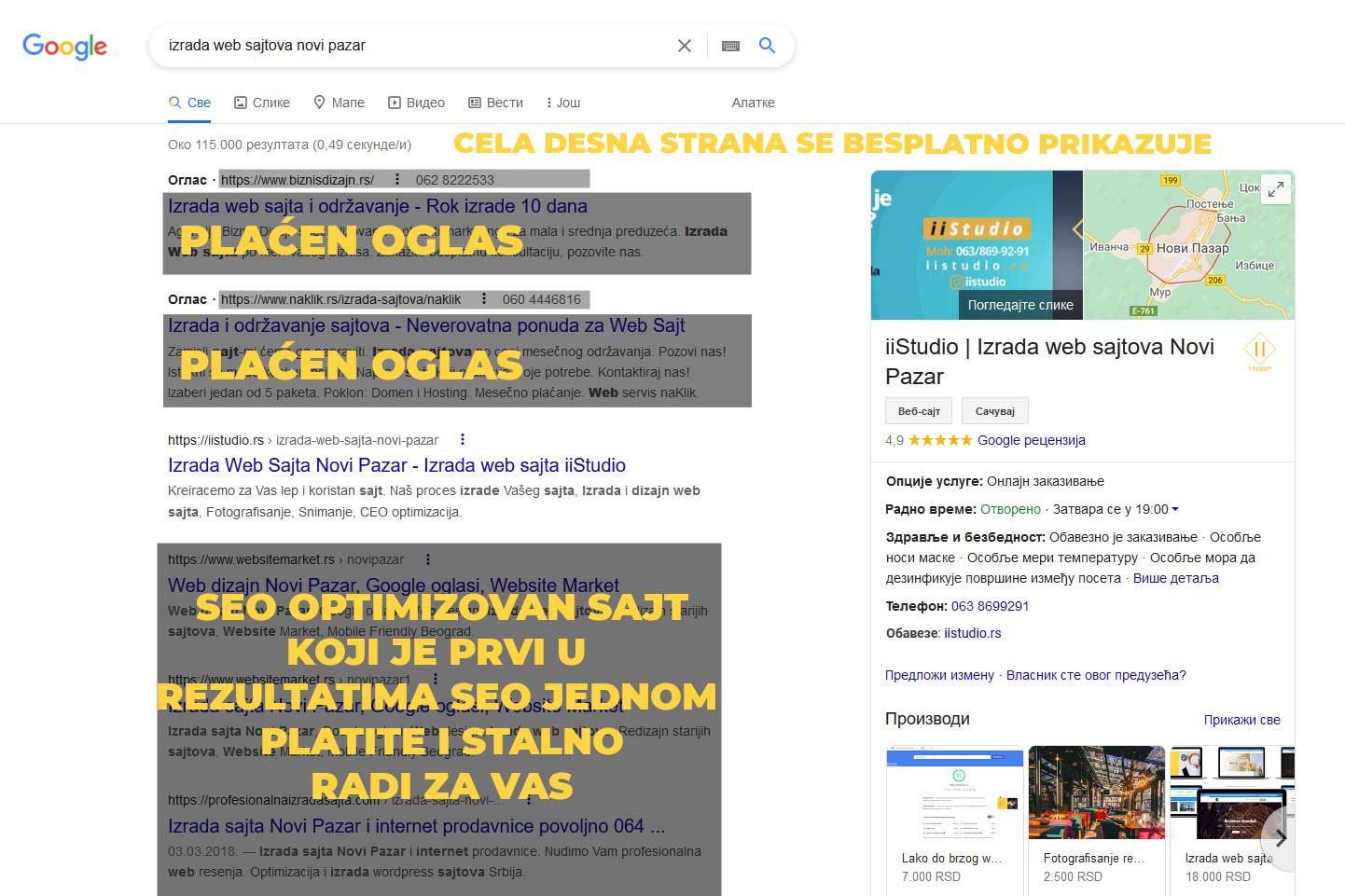 seo optimizovan sajt koji je prvi u pretrazi